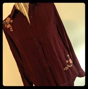 Wine button up shirt nwot